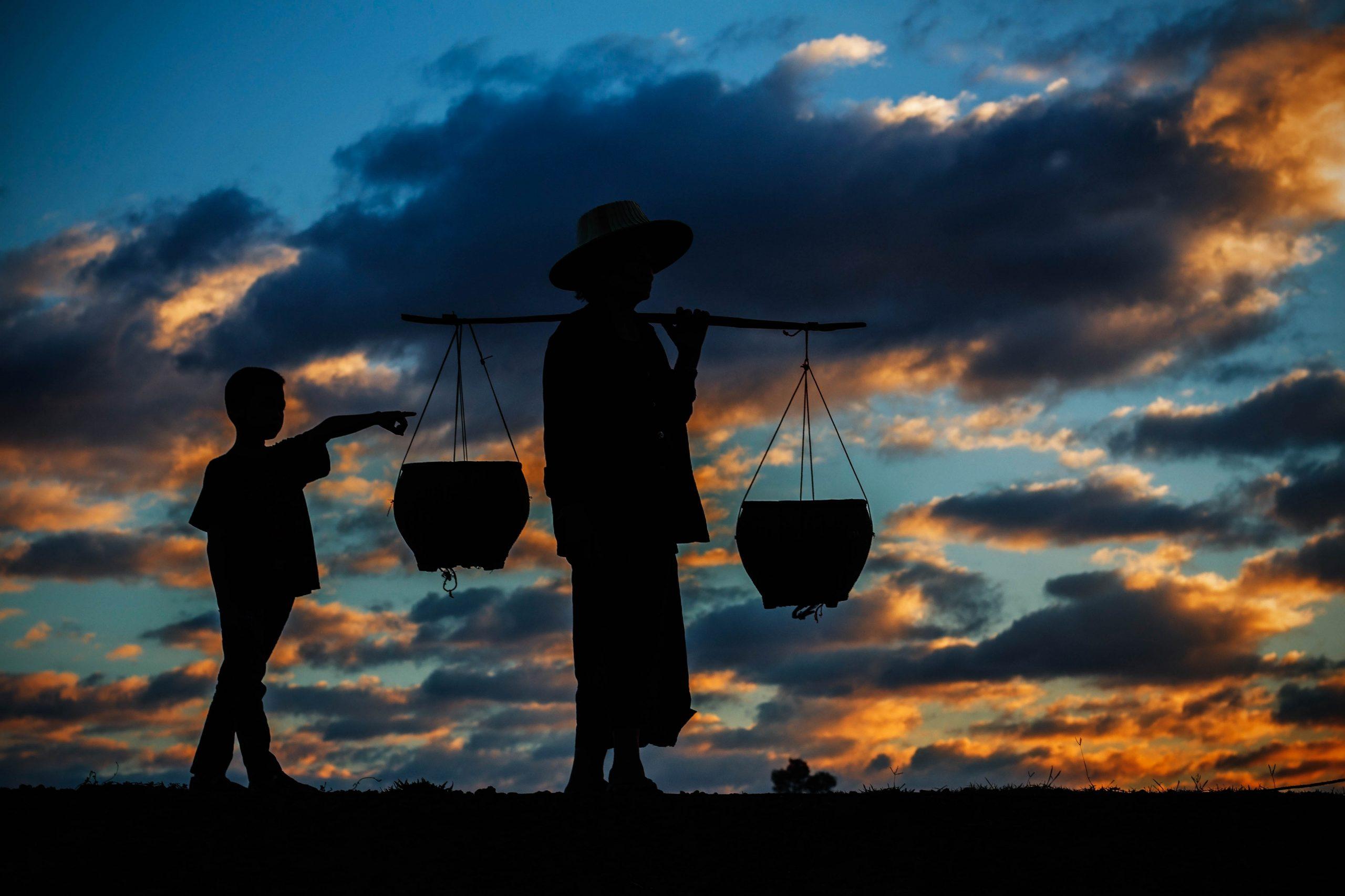 rural life at sunset.
